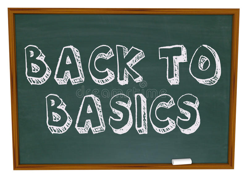 Back to Basics - Chalkboard. The words Back to Basics written on a chalkboard