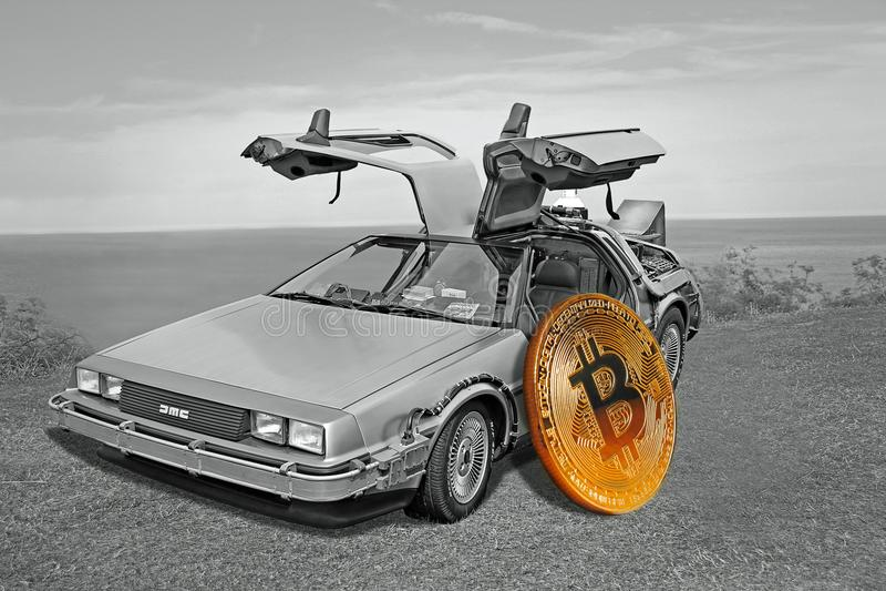 Back to the future delorean bitcoin royalty free illustration