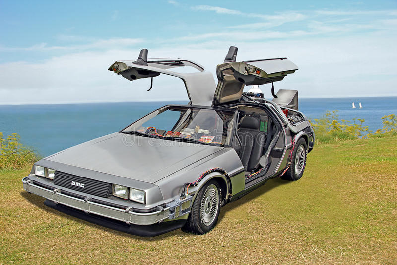 Back to the future delorean car stock images