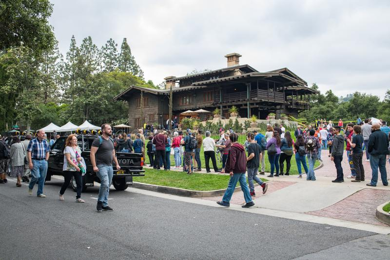 Back to the Future Fans at the Gamble House in Pasadena. Pasadena, CA: May 20, 2018: Back to the Future fans at the Gamble House in Pasadena. The Gamble House stock photos