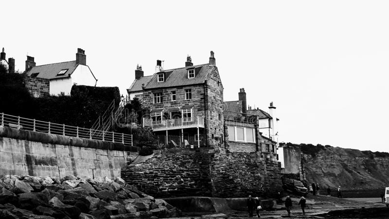 Good Old Days in Robin Hoods Bay. Back to the good old days in Robin Hoods Bay, North Yorkshire, England stock photos
