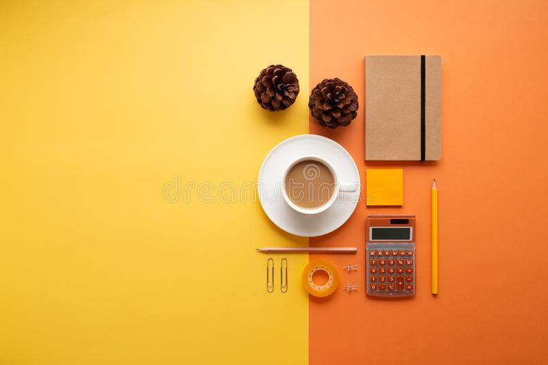 Back to office concept with supplies and coffee royalty free stock photo