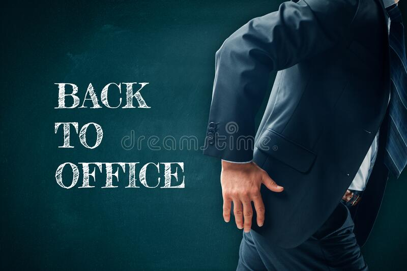 Back to office after covid-19 concept stock images
