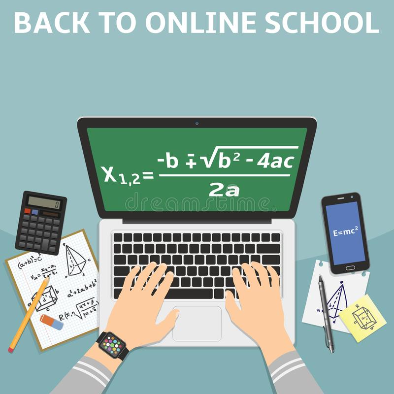Back to online school flat design vector illustration concept royalty free stock photo