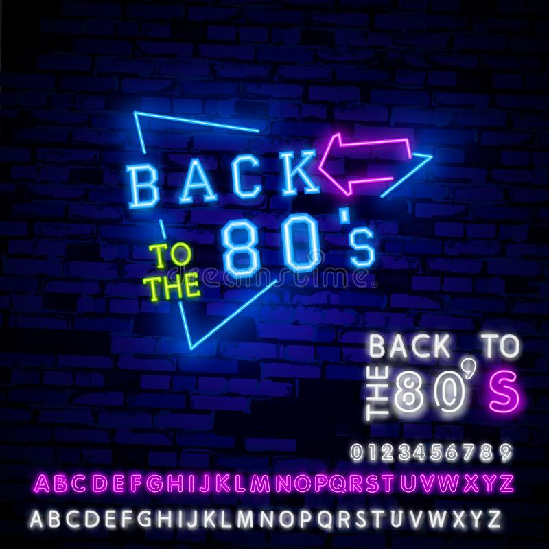 Back to the 80s neon sign vector. 80 s Retro style Design template neon sign, light banner, neon signboard, nightly royalty free illustration