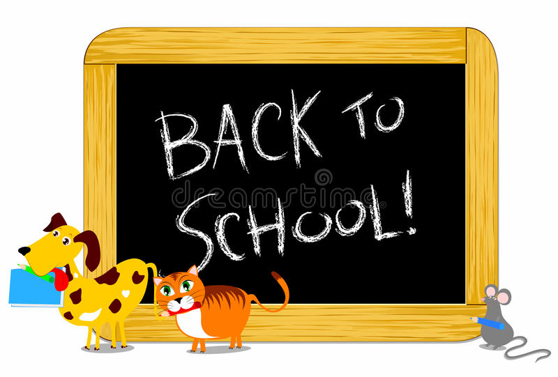 Back to school!. Vector illustration depicting some funny animals while parading towards the school bringing with her pencils and books. In the background a stock illustration