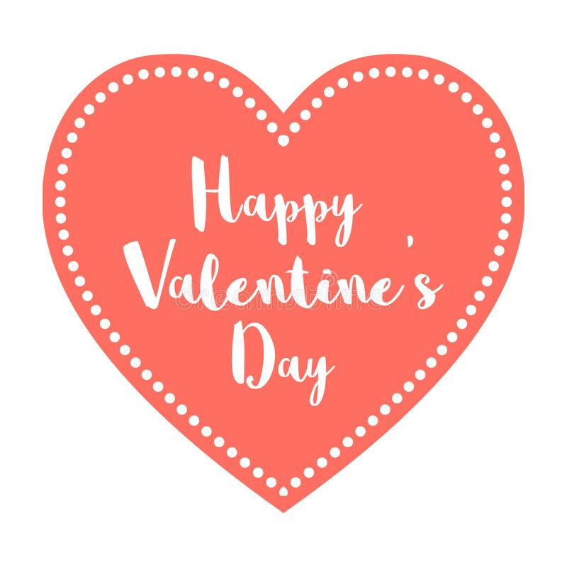 Valentine`s Day Postcard Heart Living Coral Pantone Color of the Year 2019 on a white background.  royalty free illustration
