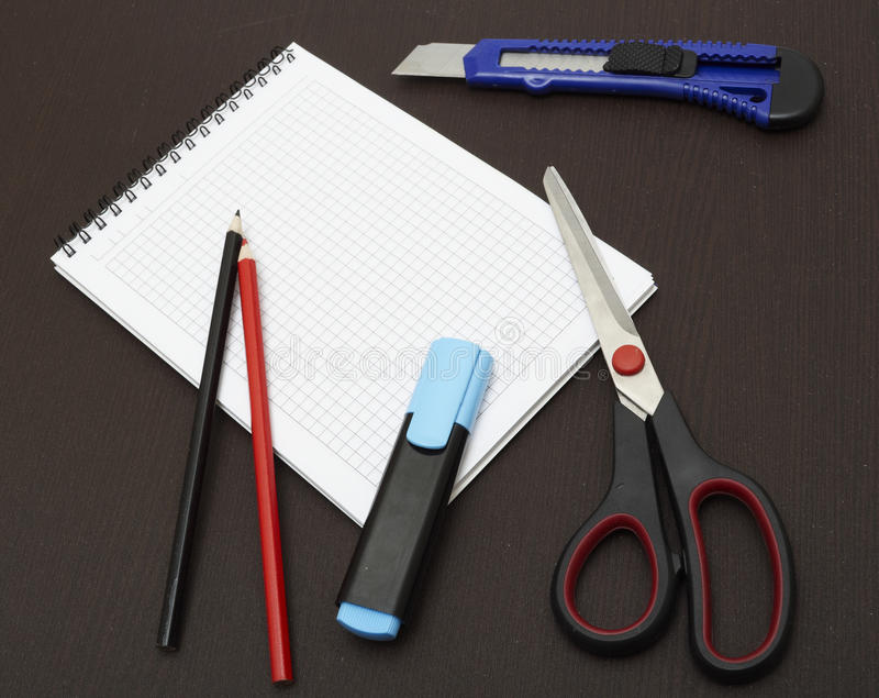 Back to school. Concept table venge royalty free stock photo