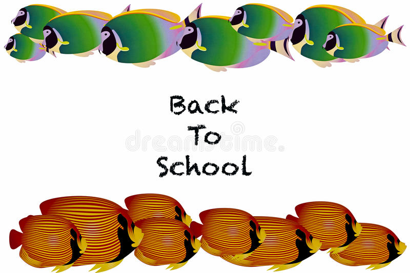 Back to School. Fish swimming in schools with the words Back to School isolated on a white background royalty free illustration