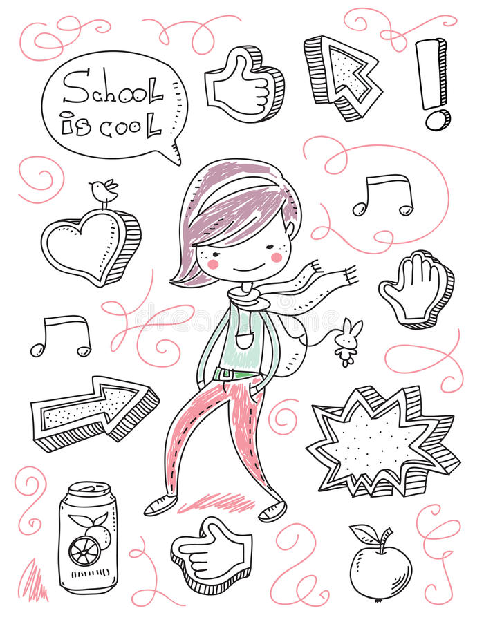 Back to school. Kid doodles royalty free illustration