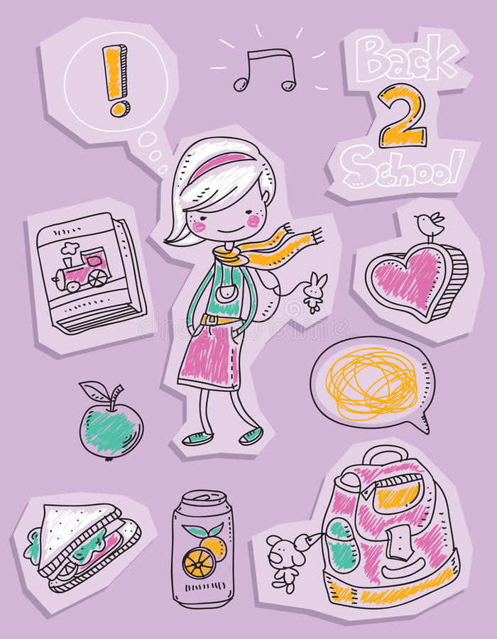 Back to school. Kid doodles, cute girl vector illustration