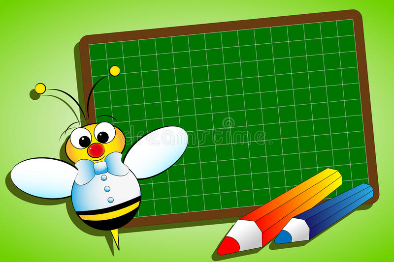 Back to school. Concept with blackboard and bee royalty free illustration