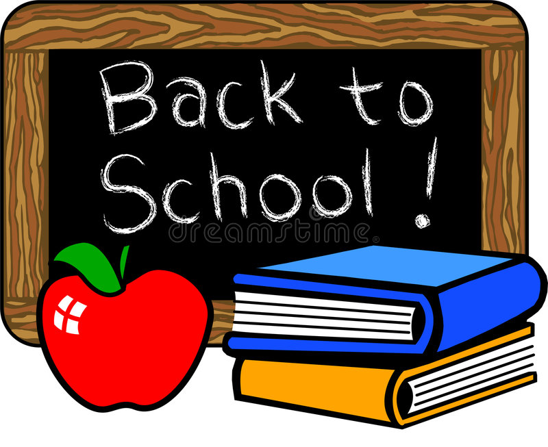 Back to School. Illustration of a chalkboard with the headline Back to School!...along with traditional apple for the teacher and stacked books