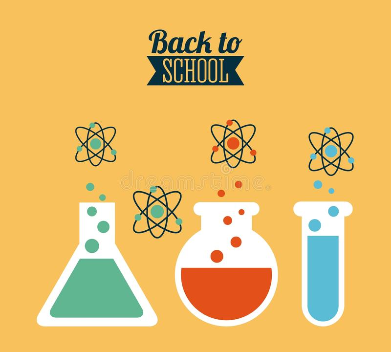 Back To School. School design over yellow, background vector illustration stock illustration