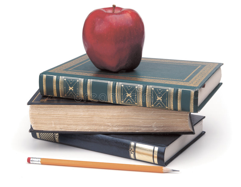 Back to school. Apple books and pencil on white background royalty free stock image