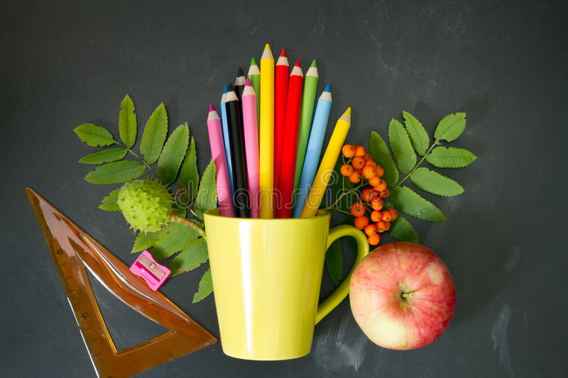 Back to school abstract background with crayons on blackboard stock image