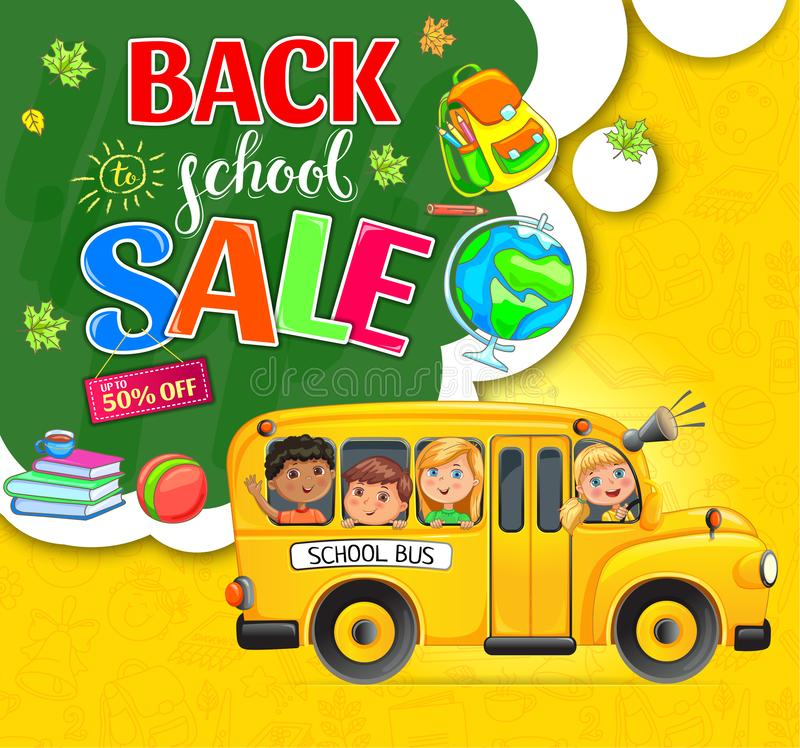 Back to school action with children and bus royalty free stock image