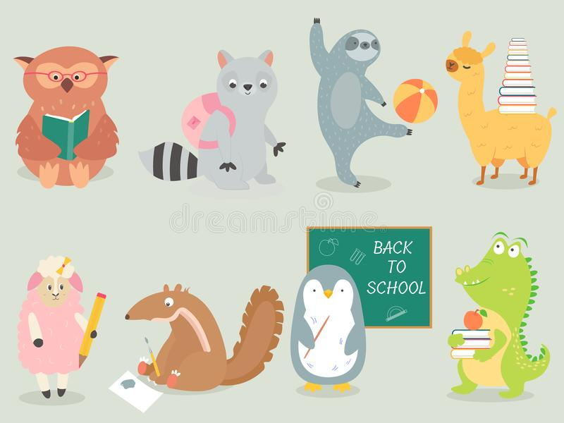 Back to school Animal character hand drawn style vector illustration