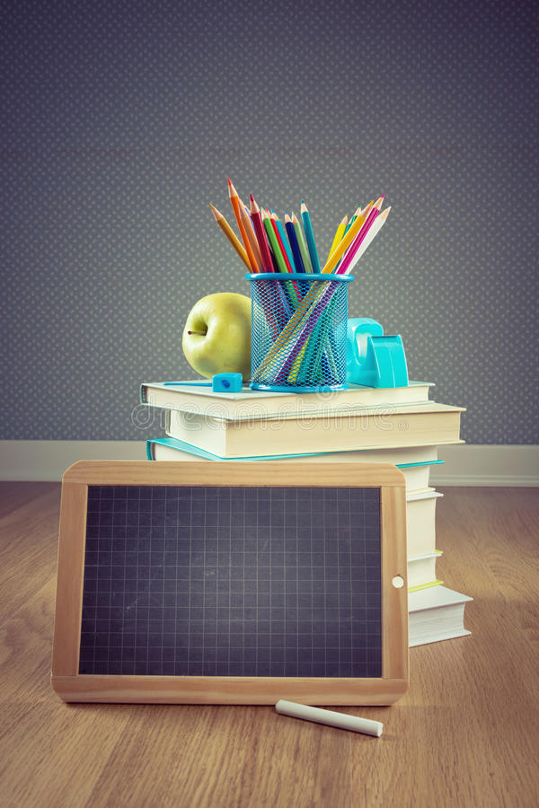 Back to school with apple and blackboard stock photos