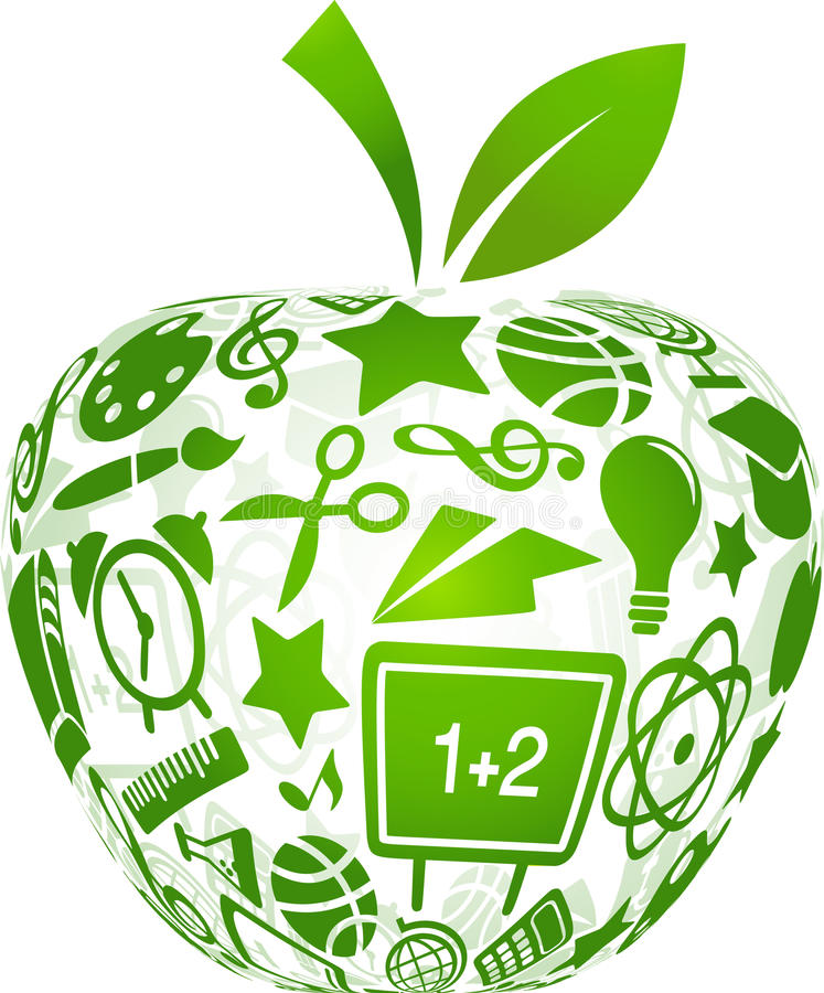 Back to school - apple with education icons royalty free illustration