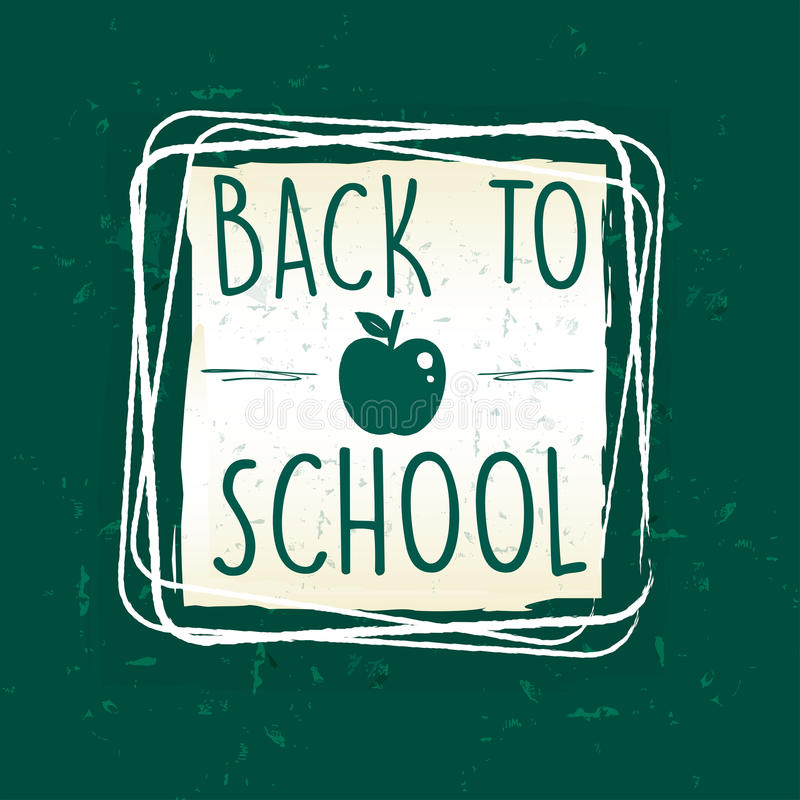 Back to school with apple in frame over green old paper. Back to school text with apple symbol in frame over green old paper background, education concept royalty free illustration