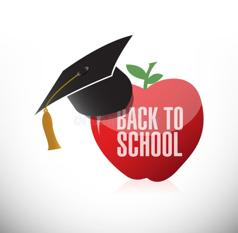 Back to school apple and graduation hat vector illustration