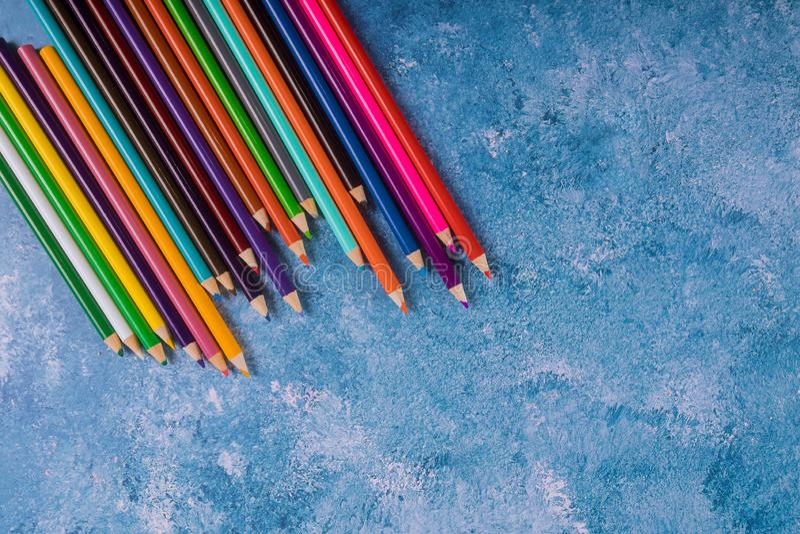 Back to school. Art concept. Rainbow pencils stock images