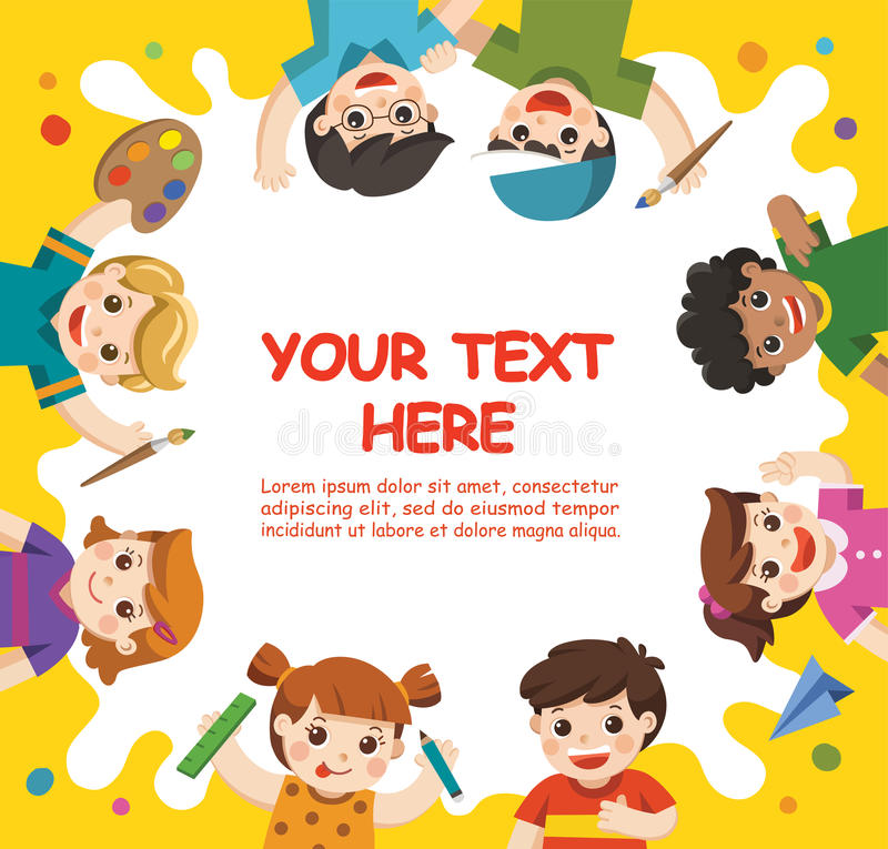 Cute children have fun and ready to get painting together. royalty free illustration