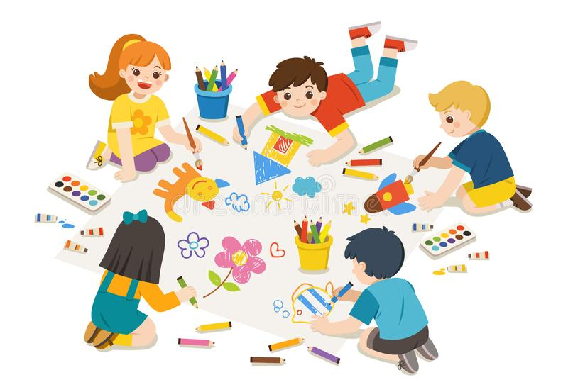 Happy Children draw pictures and paints on floor. vector illustration