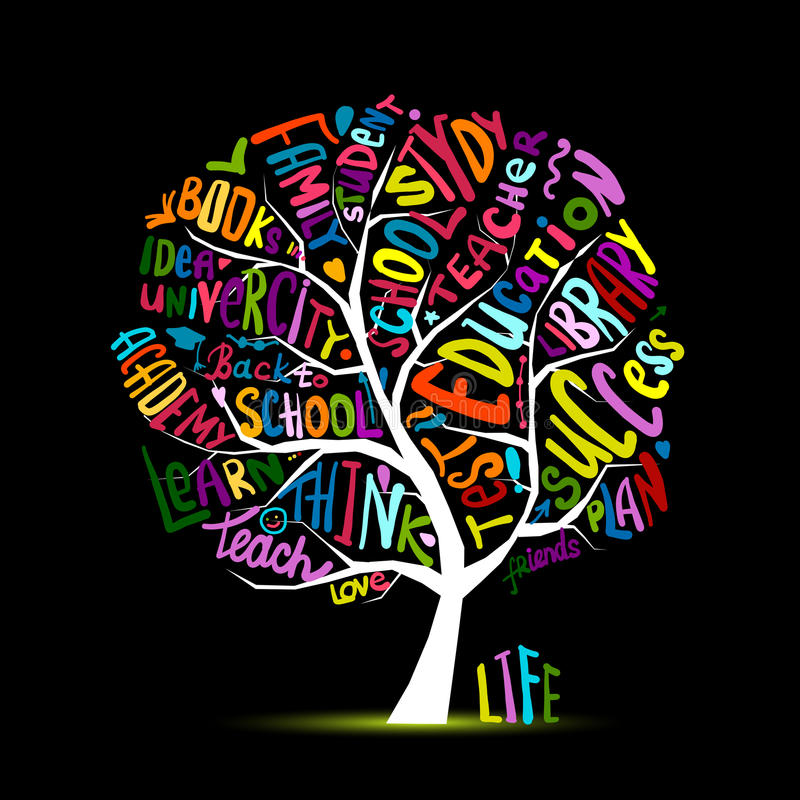 Back to school, art tree for your design stock illustration