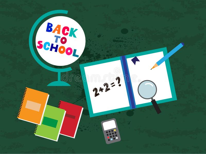 Back to school. Template poster design. Vector quote and set doodle school elements .Vector illustration royalty free illustration