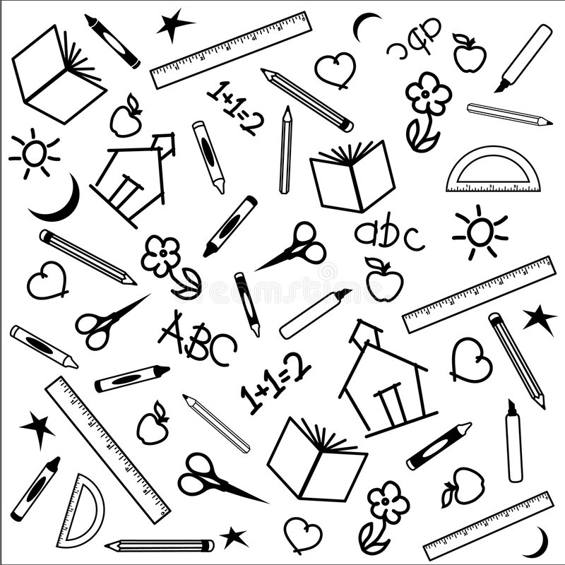 Back to School Background. Black and white background for back to school, scrapbooks, arts and crafts projects, including drawings of apples, schoolhouses, books royalty free illustration