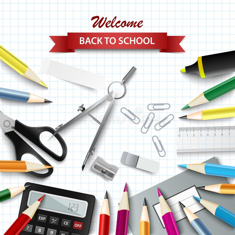 Back to school background with aids on square paper royalty free illustration