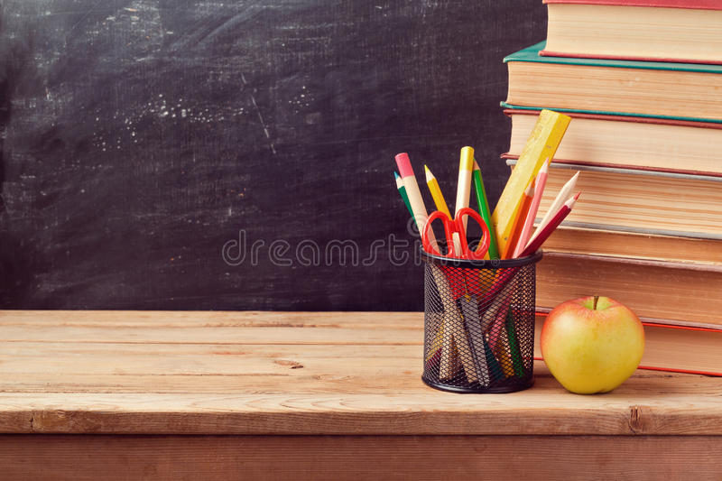 Download Back To School Background With Books Pencils And Apple Stock Image