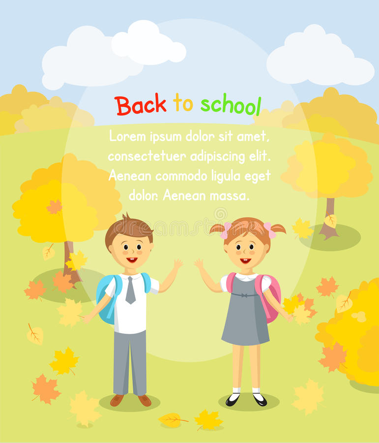Back to school background. Boy and girl with maple leaves standing outside stock illustration
