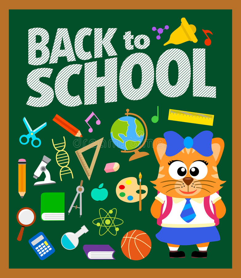 Back to school background with cat stock illustration