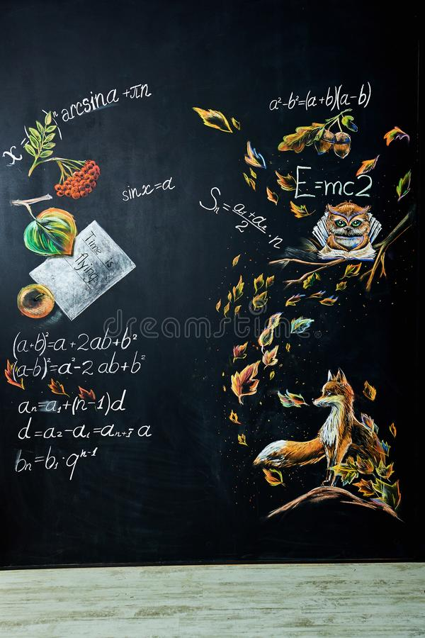 Back to school background with chalk board stock photography