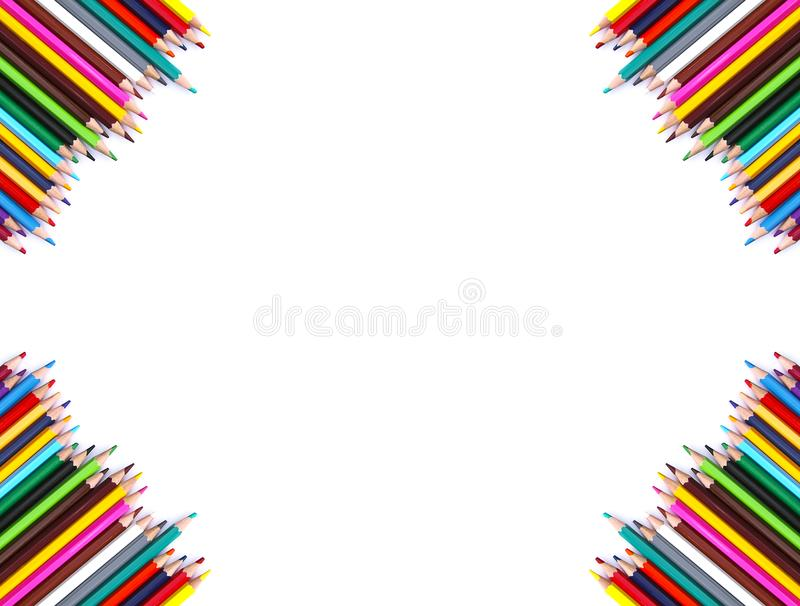 Back to School background. Colored pencils. royalty free stock photography