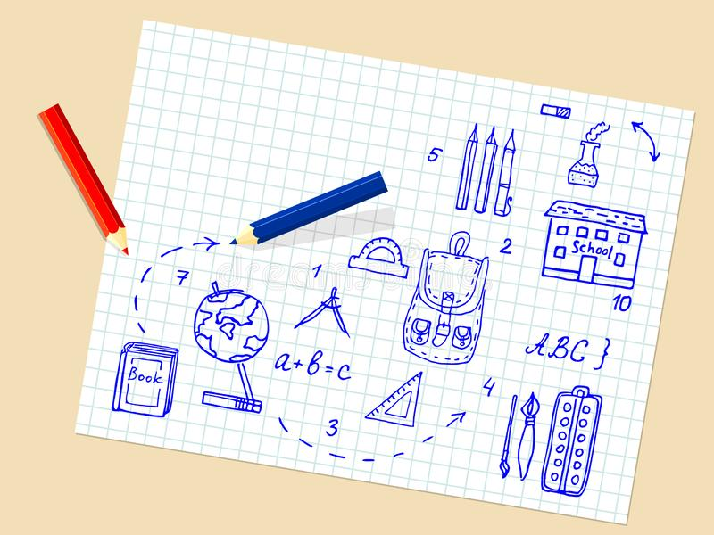 Back to school. Background. Doodle illustration. Vector. Back to school. Background with doodle hand draw elements. Illustration. Vector design elements stock image