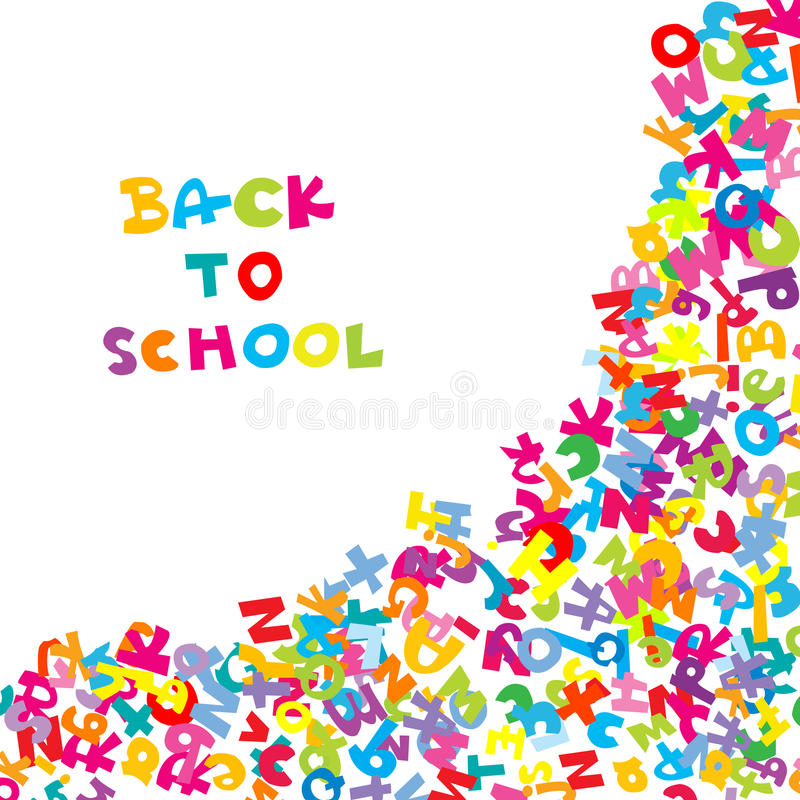 Back to school background with letters stock illustration