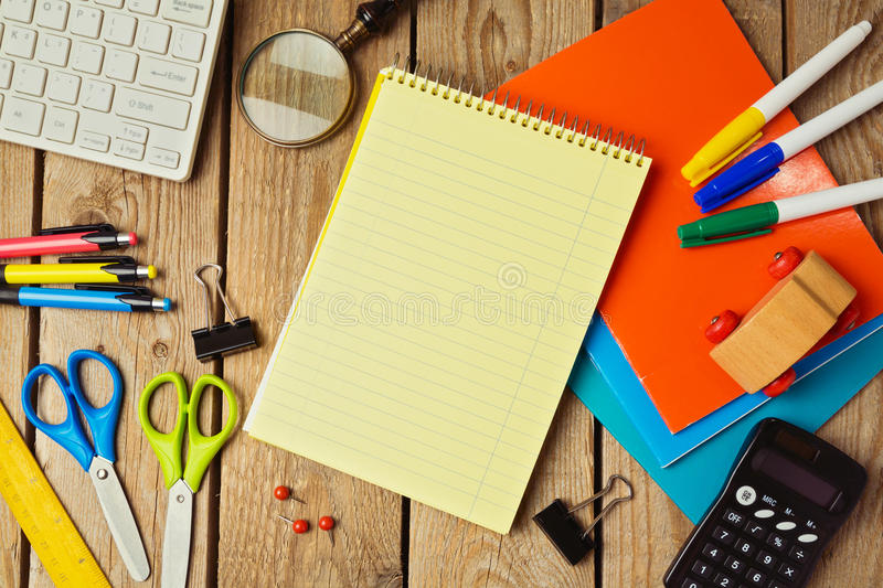 Back to school background with notebook. View from above royalty free stock images