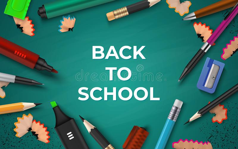 Back to school background. Realistic stationery on chalkboard, pen pencil brush and marker. Vector 3D school educational. Poster with color design elements vector illustration
