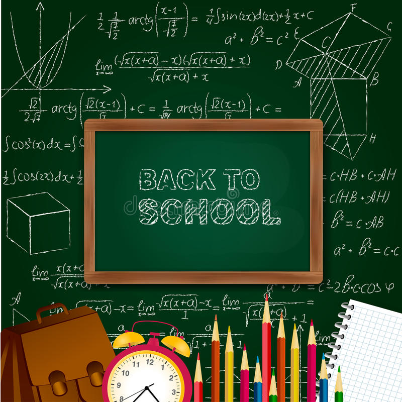 Back to school background with school supplies - blackboard, alarm clock, pencils, notepad on mathematical surface. vector illustration
