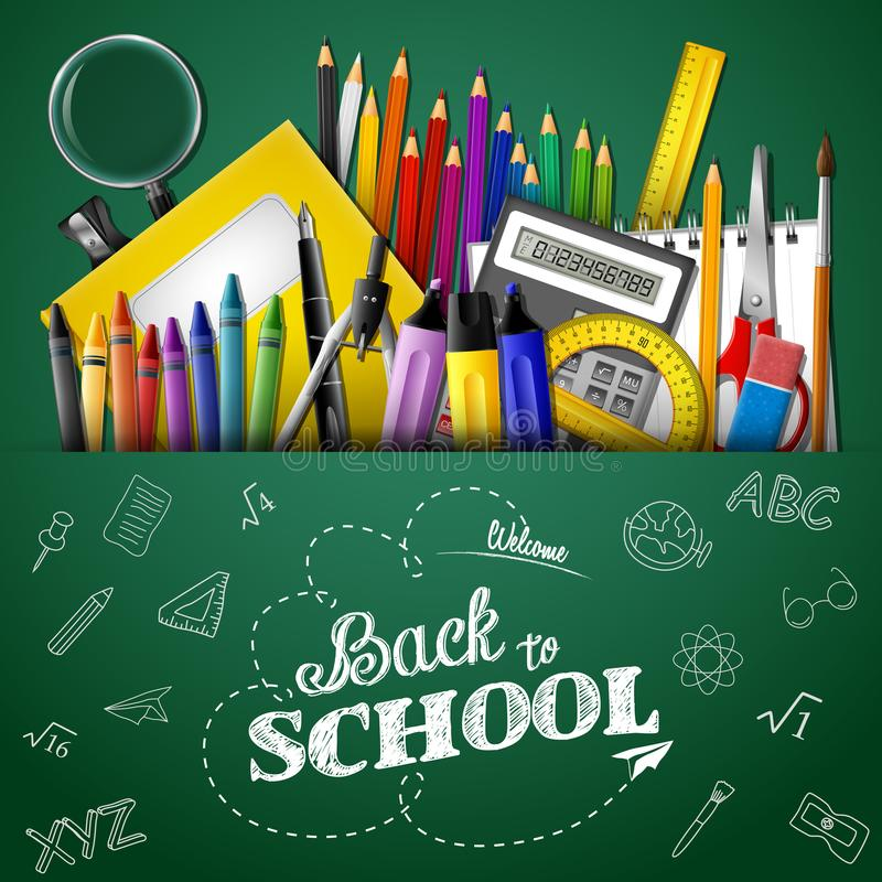Back to school background with stationery and school supplies vector illustration
