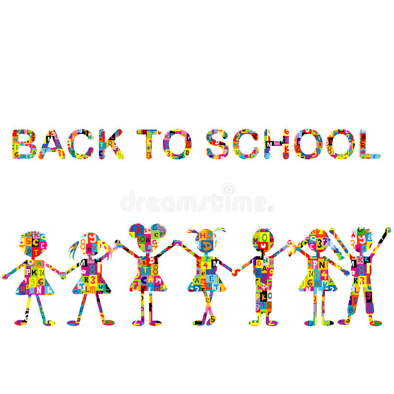 Back to school background with stylized patterned kids vector illustration