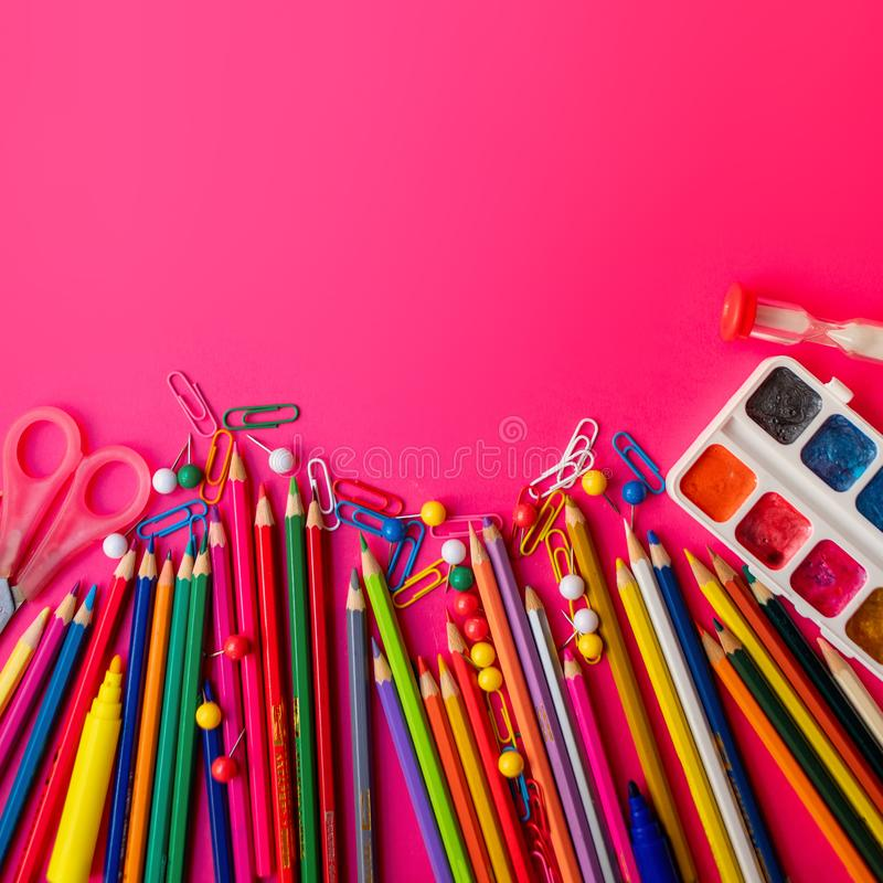 Back to school Background. School supplies.  Flat lay stock photos