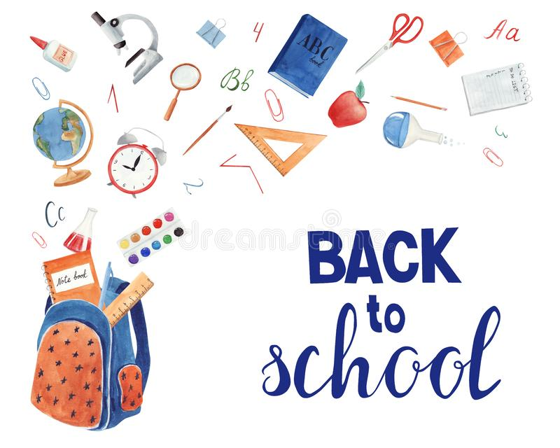 Back to school. Background with school supplies on white stock illustration