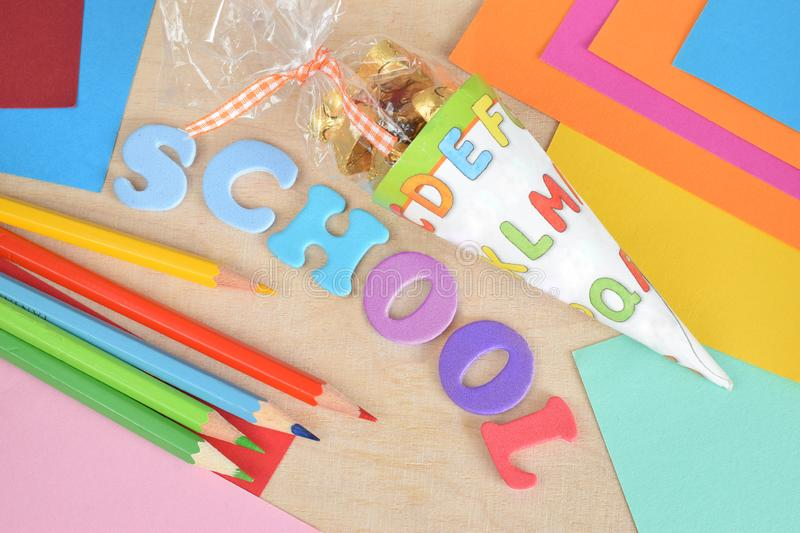 Back to school background with supply stock photos