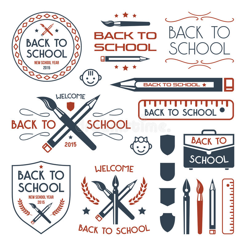 Back to school badges set. Color print on white background royalty free illustration
