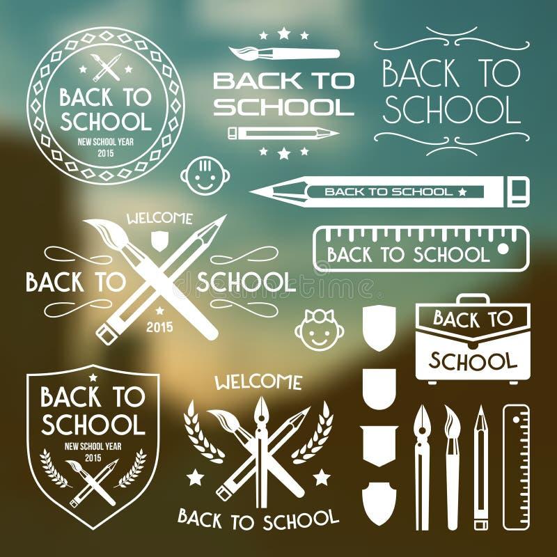 Back to school badges set. White print on blurred background vector illustration